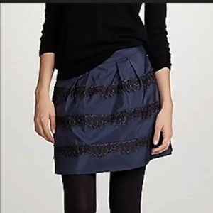 J Crew Navy and Black Lace Skirt